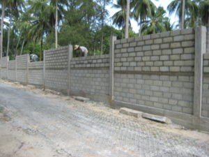 Cement fence wall construction Lipanoi beach koh samui