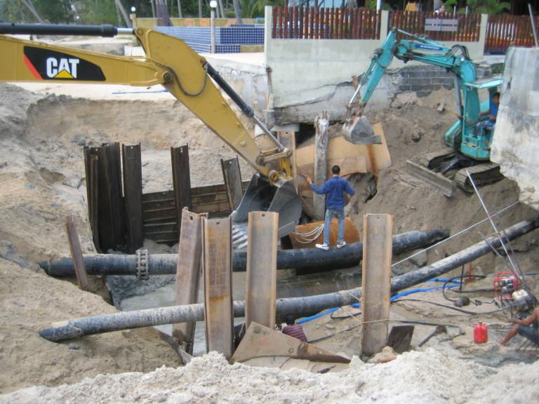lipanoi beach in koh samui our two big machines in pipe work