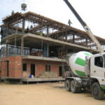 concrete cement truck making third floor in condo