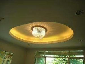 crystal roof crown middle oval recessed ceiling design