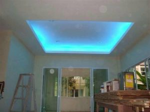 neon blue ceiling recessed
