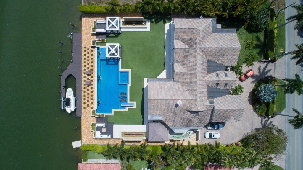 aerial photo of villa construction plan