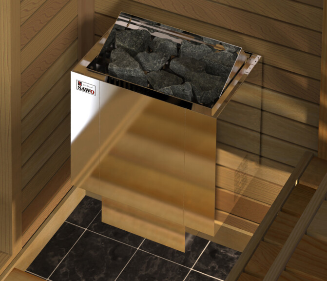 wall mounted sauna heater in cedar panel wood sauna